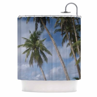 Blue Sky Ocean Palm Trees Photography Shower Curtain