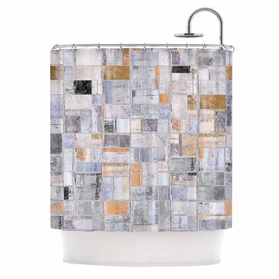 Gray Tan Tile Squares Photography Shower Curtain