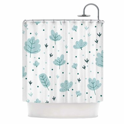 Leaves Nature Shower Curtain Color: Gray