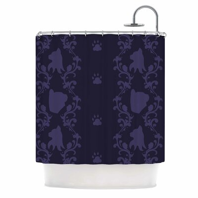 Cat Damask Shower Curtain
