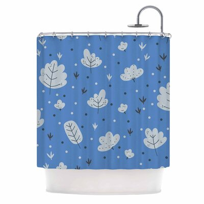 Leaves Nature Shower Curtain Color: Blue
