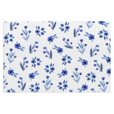 Blue Floral Pattern Doormat
