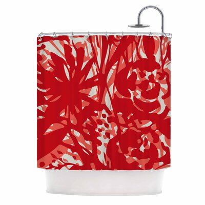 Inky Floral Painting Shower Curtain Color: Red/Coral