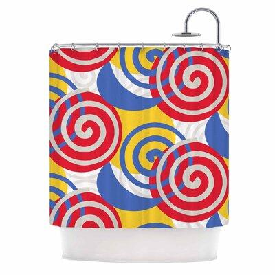 'Dynamic Swirls Multi' Digital Shower Curtain