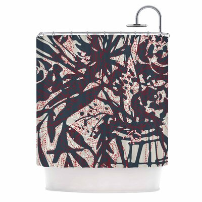 'Inked Floral Latte' Illustration Shower Curtain