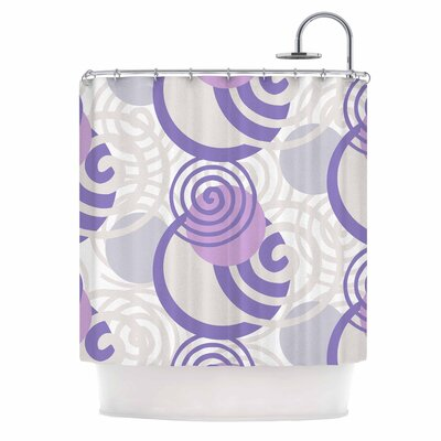 'Dynamic Swirls Purple' Digital Shower Curtain