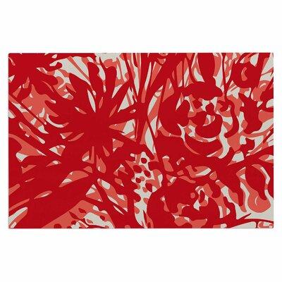 Inky Floral Doormat Color: Red/Coral