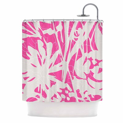 Inky Floral Peony Illustration Shower Curtain