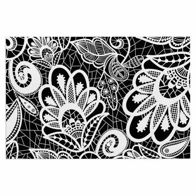 'Floral Lace Bw' Doormat