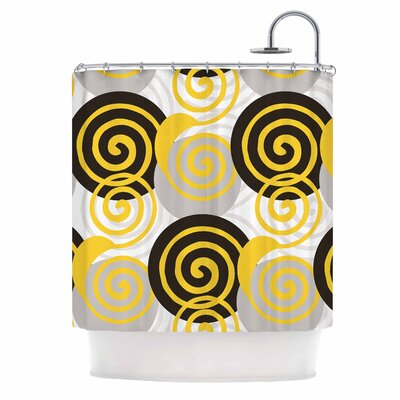 Dynamic Swirls Yellow Digital Shower Curtain