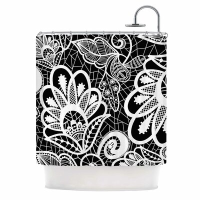 Floral Lace Bw Shower Curtain