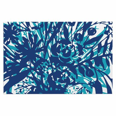 Inky Floral Doormat Color: Navy Blue/Teal