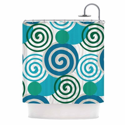 Dynamic Swirls Teal Digital Shower Curtain