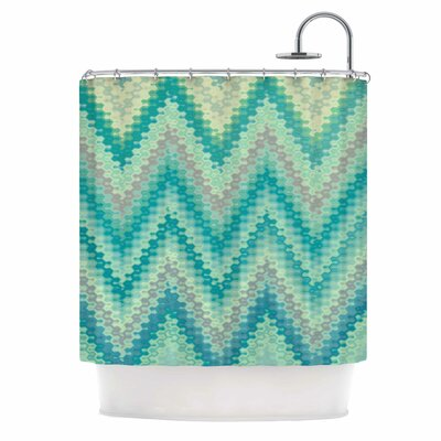 Seventies Emerald Chevron Shower Curtain