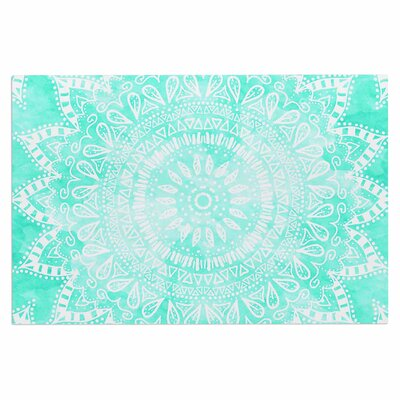 Boho Flower Mandala Doormat Color: Teal/Aqua/Green