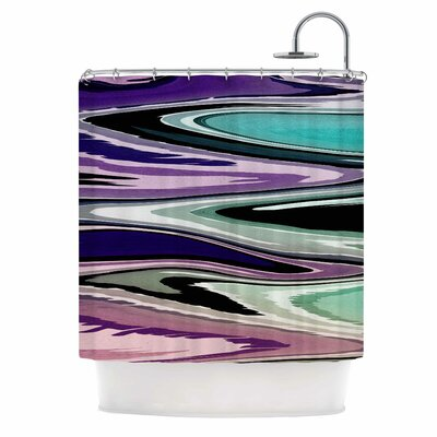 Beach Waves Shower Curtain Color: Pink