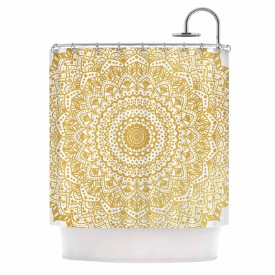 Boheme Dream Mandala Illustration Shower Curtain Color: Gold/White