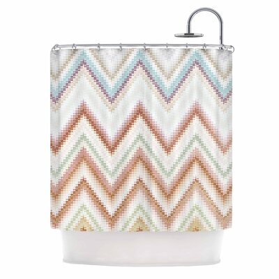 Seventies Chevron Shower Curtain Color: Beige