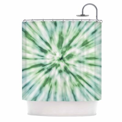 Tie Dye Urban Shower Curtain Color: Green/Blue
