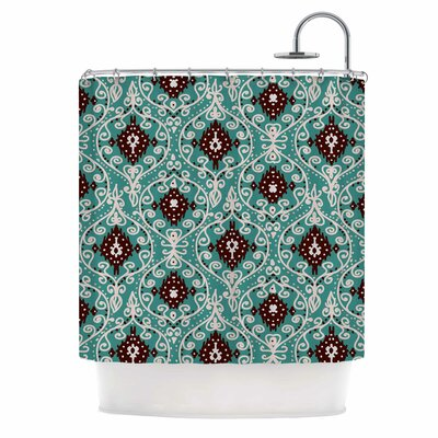 Bohemian Paisley Pattern Digital Illustration Shower Curtain