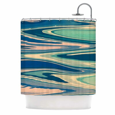 Beach Waves Shower Curtain Color: Teal