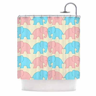 Elephants on Parade Shower Curtain Color: Blue/Red