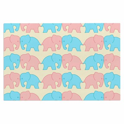 Pastel Elephants on Parade Doormat