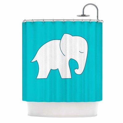 Cute Blue White Elephant Shower Curtain