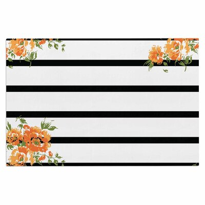 Orange Floral Stripes Doormat