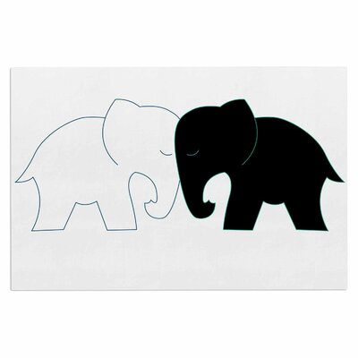 Black and White Elephant Love Doormat