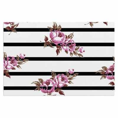 Purple Floral Stripes Doormat