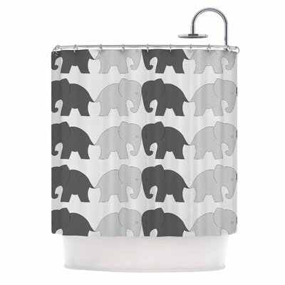 Elephants on Parade Shower Curtain Color: Gray