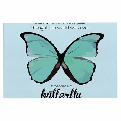 Blue Butterfly Quote Decorative Doormat