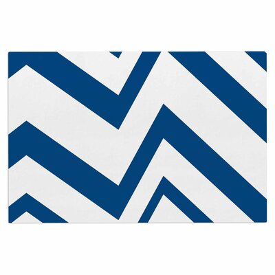ZigZag Gerine Decorative Doormat Color: Navy Blue/White