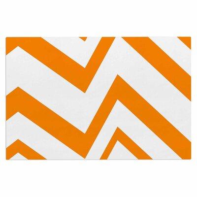 ZigZag Gerine Decorative Doormat Color: Orange/White