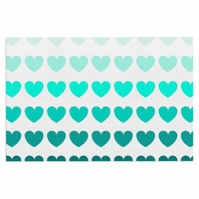 Teal Hearts love Decorative Doormat