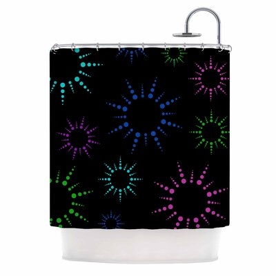 Rainbow Fireworks Shower Curtain Color: Black/Pink