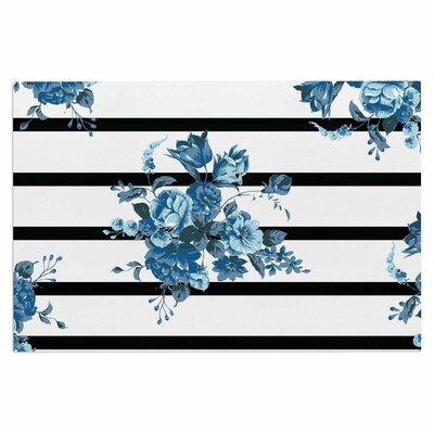 Blue Floral Strips Doormat