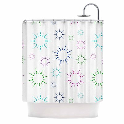 Rainbow Fireworks Shower Curtain Color: White/Blue/Pink