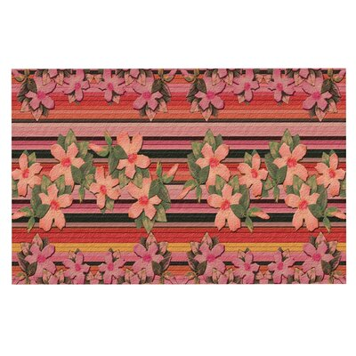 Peach Hibiscus Stripe Doormat