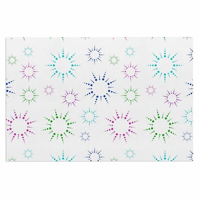 Rainbow Fireworks Doormat Color: White/Blue/Pink