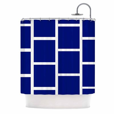 Navy Square Blocks Shower Curtain