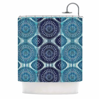 Blue Mandala Stripe Digital Shower Curtain