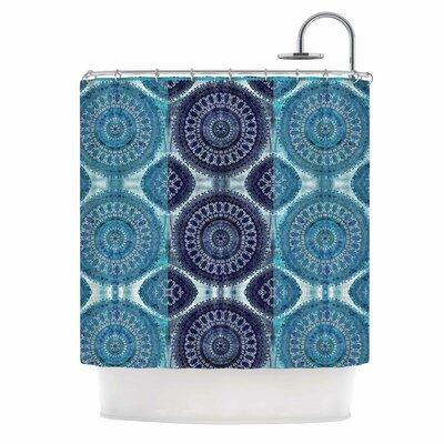 Blue Mandala Stripe Digital Shower Curtain