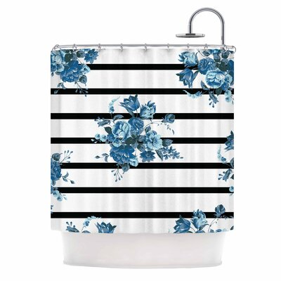 Blue Floral Strips Shower Curtain