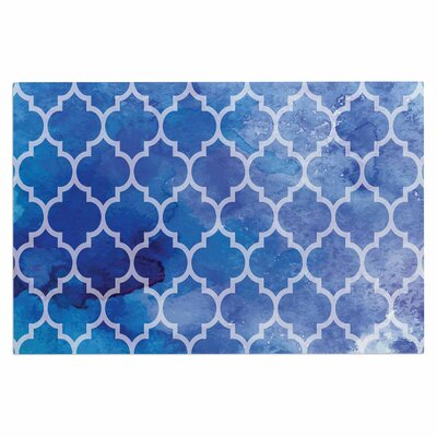 Blue Watercolor Moroccan Doormat