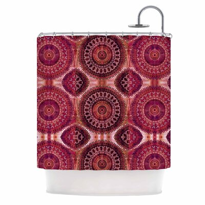 Magenta Mandala Stripe Mixed Media Shower Curtain