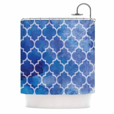 Blue Watercolor Moroccan Shower Curtain