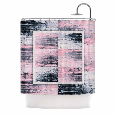 Tavertina Mixed Media Shower Curtain Color: Gray/Pink