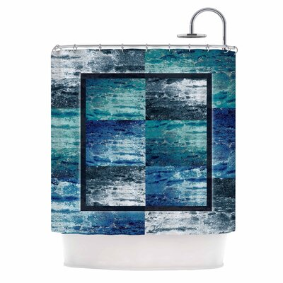 Tavertina Mixed Media Shower Curtain Color: Blue/Teal